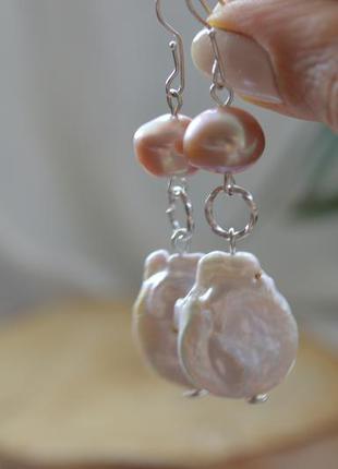Серебряные серьги с барочным жемчугом ′барокко′