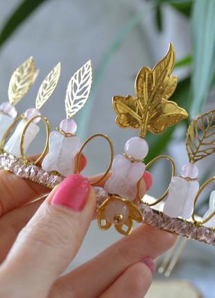 Корона, диадема из розового кварца ′офелия′