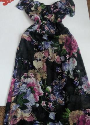 Платье принт 48 размер длинное нарядное в пол бюстье sale
