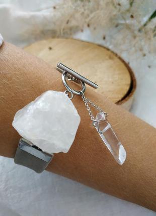 """Кожаный серый браслет с горным хрусталем """"айсберг"""""""