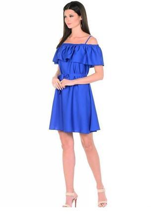 Платье синее нарядное вечернее 52 54 размер  новое короткое  н...