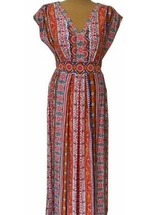 Платье вышиванка макси в пол 52 54 размер офисное футляр бюсть...