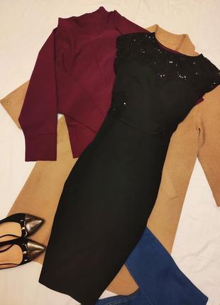Платье миди чёрное футляр карандаш сеточка на спине и боках па...