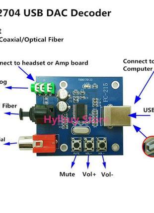 ЦАП USB конвертер DAC PCM2704 Spdif Coaxial OTG Android