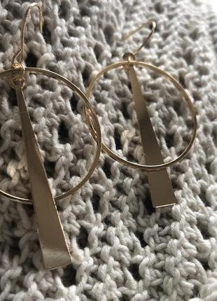 Геометрические сережки, серьги, позолота