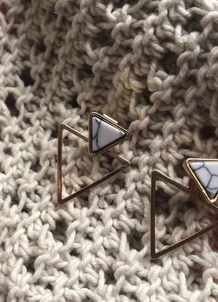 Серьги треугольники, сережки позолота