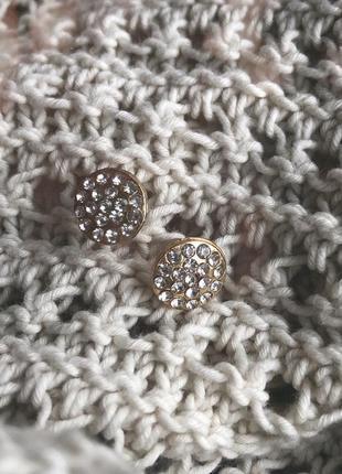 Сережки гвоздики с камнями, серьги, позолота