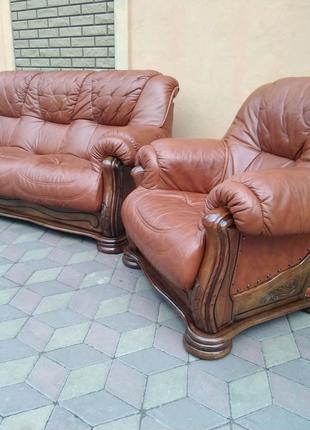 Кожаный комплект мебели 3+1. Купить кожаный диван