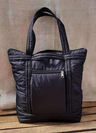 Сумка рюкзак дутик на синтепоне легкая черная недорого
