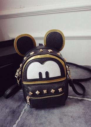 Рюкзак черный с ушками и шипами микки маус