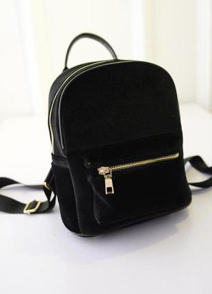 Рюкзак мини женский велюровый черный