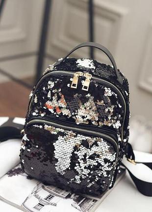 Рюкзак мини женский черный с черно-серебрянными пайетками