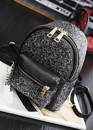 Рюкзак мини женский черный с серебристым глитером