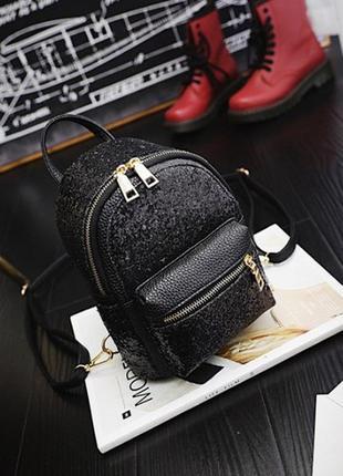 Рюкзак мини женский черный с черным глитером
