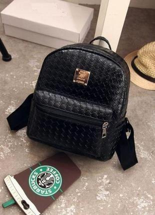 Рюкзак мини женский плетеный черный