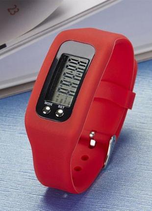 Часы женские c шагомером красные силиконовые