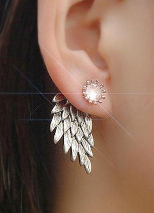 Сережки джекеты крылья ангела цвет серебро