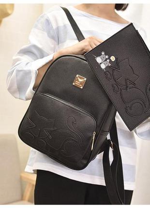 Рюкзак+кошелек  с котиком черный