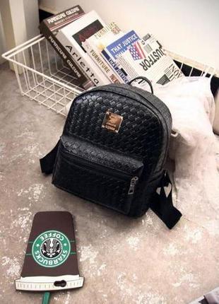 Рюкзак небольшой черный плетеный