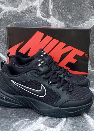 Мужские кроссовки  nike air monarch черные,кожаные