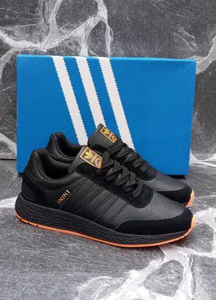 Мужские кроссовки adidas iniki черные,кожаные