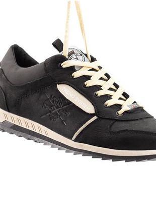 Мужские кроссовки кожаные весна/осень черные splinter trend 1020
