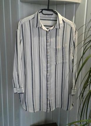 Рубашка блуза mango свободная в полоску большой карман на груд...