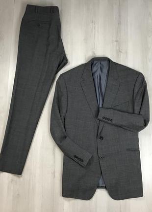 F0 n9 костюм темно-серый  шерстяной клетчатый  приталенный пид...