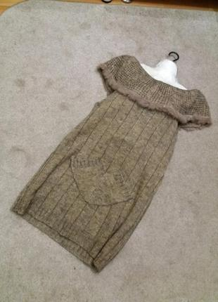 Теплое вязаное бежевое платье туника косы  на 48 50р #320