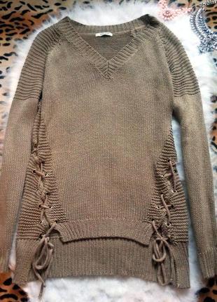 Длинный свитер завязками шнуровкой кофта оверсайз вязанная дже...
