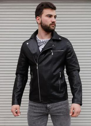 Куртка-косуха мужская, из эко кожи, черная/куртка-косуха...
