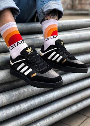 Кроссовки adidas drop step black gold мужские кожаные