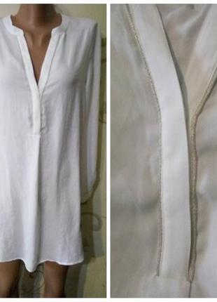 Платье рубашка сорочка блузка туника promod отделка серебристо...