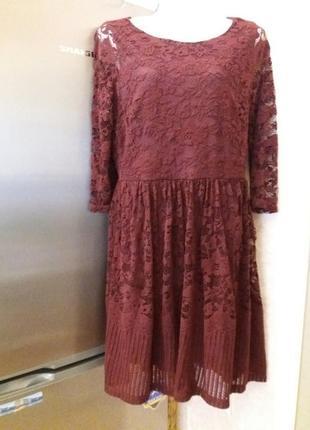 Ажурное платье марсала вишневое миди   12-14h на 48\50р       ...