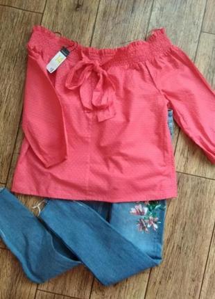 Коралловая рубашка блуза с открытыми плечами от primark