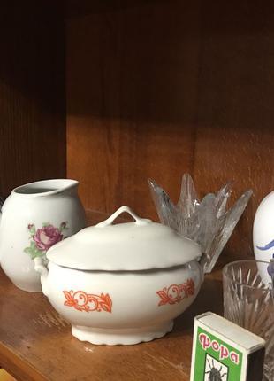 Бокалы графины чашки роспись чайник хрусталь пиалы мальвы