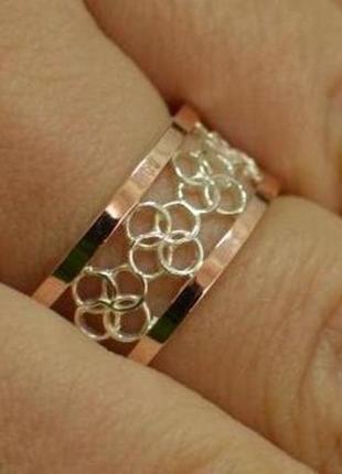 Обручальное серебряное кольцо с золотом обр27