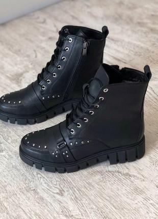Кожаные зимние ботинки на низком ходу