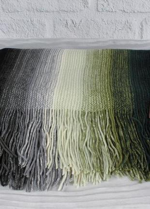 Теплый вязаный шарф, палантин vlasite 7380-1 зеленый комбиниро...