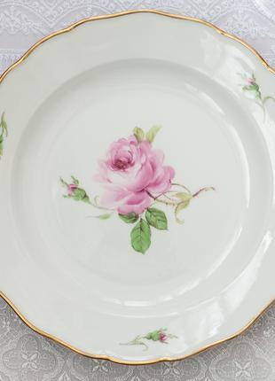 Обеденная тарелка Мейсен Rote Rose, конец 19-го