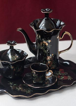 Черный кофейный сервиз Серенада на 6 персон