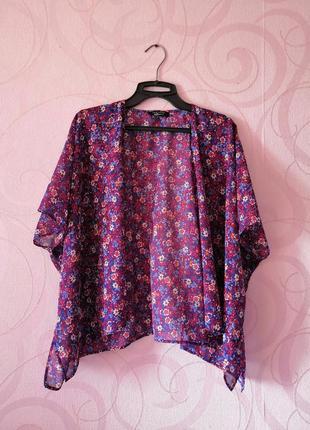 Легкая накидка с цветами, короткое кимоно