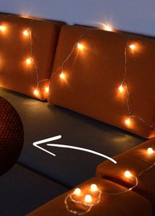 Гирлянда USB 6 метров. 30 шариков - Теплый свет. Светильник LED