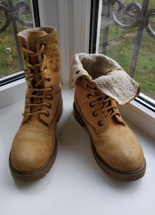 Зимние ботинки из нубука, с шерстью, на шнуровке, зимние сапоги