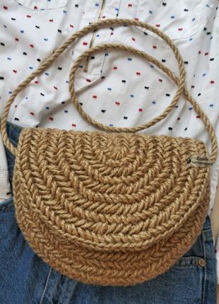 Сумка из джута, Кросс-боди, вязаная сумочка