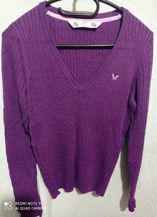 Фиолетовый пуловер трикотаж джгуты хлопок ангора crew