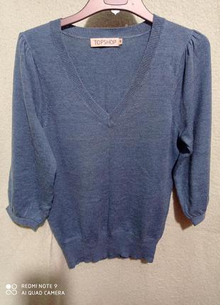 Серо-голубой пуловер с ангорой