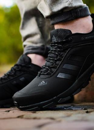 Adidas climaproof black, мужские чёрные кроссовки адидас.