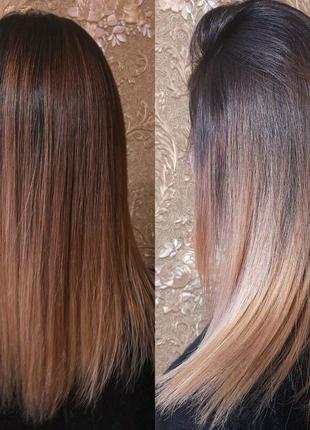 Сложное окрашевание волос,кератин,ботокс нанопластика