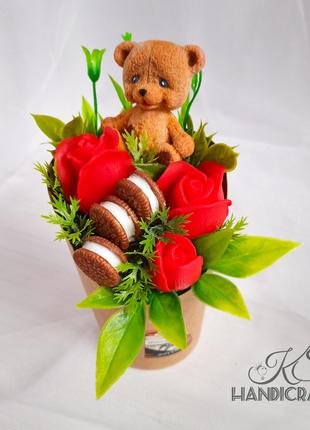 Мыльный подарочный букет. Мишка, розы, макаруны. Подарок. Мыло.